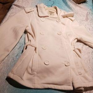 Cream colored pea coat style jacket/sweater